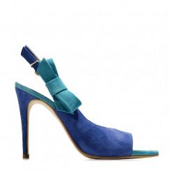 Sandalo in pelle scamosciata bicolore