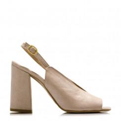 Sandalo open toe in tessuto iridescente