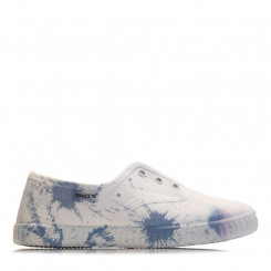 Slip-on in tela bianca con graffiti