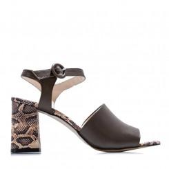 Sandalo in nappa con tacco rettile