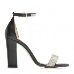 Sandalo in nappa con fascia in cristalli