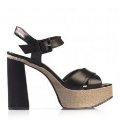 Sandalo in pelle con plateau in corda