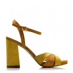 Sandalo bicolore in pelle scamosciata