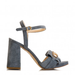 Sandalo in pelle scamosciata con gioiello