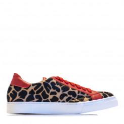 Sneaker in pelle effetto animalier