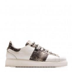 Sneaker in nappa con profili rettile