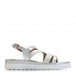 Sandalo in pelle con fasce in strass