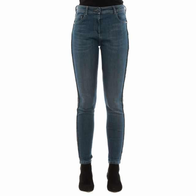Jeans con bande in strass